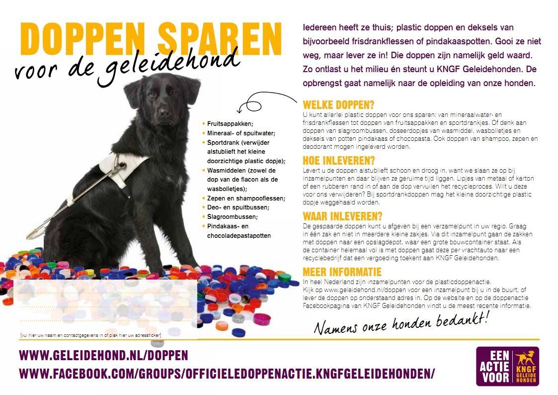 Plastic Doppen sparen voor Blindegeleidehonden.